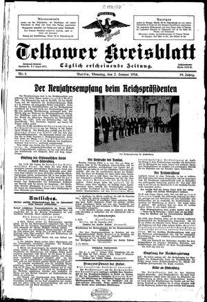 Teltower Kreisblatt vom 02.01.1934