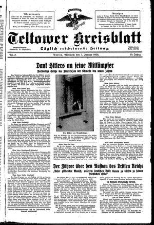 Teltower Kreisblatt vom 03.01.1934