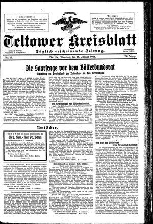 Teltower Kreisblatt vom 16.01.1934