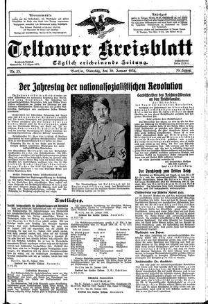 Teltower Kreisblatt vom 30.01.1934