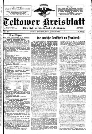 Teltower Kreisblatt vom 03.02.1934