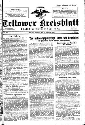 Teltower Kreisblatt vom 05.02.1934