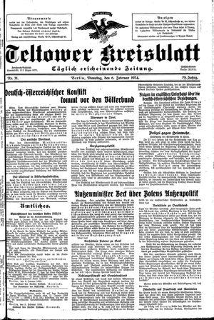 Teltower Kreisblatt vom 06.02.1934