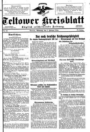 Teltower Kreisblatt vom 07.02.1934