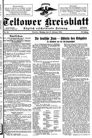 Teltower Kreisblatt vom 12.02.1934