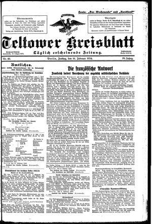 Teltower Kreisblatt vom 16.02.1934