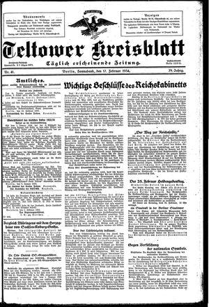 Teltower Kreisblatt vom 17.02.1934