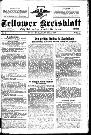 Teltower Kreisblatt vom 19.02.1934
