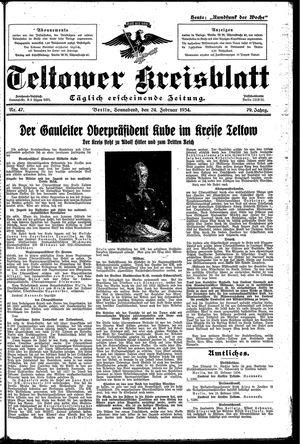 Teltower Kreisblatt vom 24.02.1934