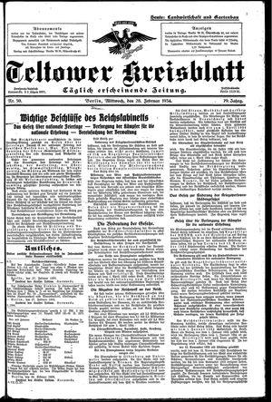 Teltower Kreisblatt vom 28.02.1934