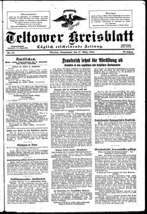 Teltower Kreisblatt vom 17.03.1934
