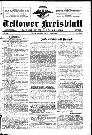 Teltower Kreisblatt vom 27.03.1934