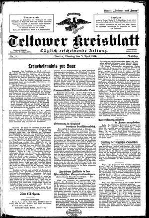 Teltower Kreisblatt on Apr 3, 1934