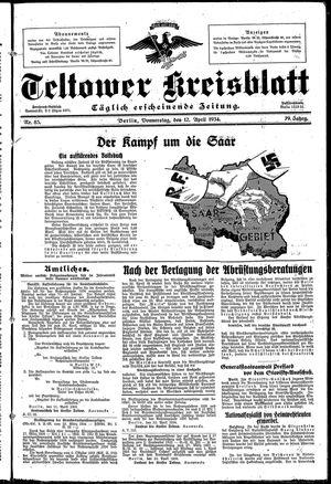 Teltower Kreisblatt vom 12.04.1934