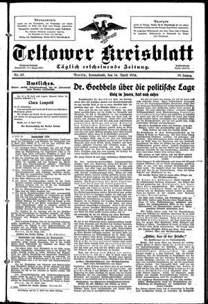 Teltower Kreisblatt vom 14.04.1934