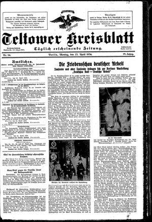 Teltower Kreisblatt vom 23.04.1934