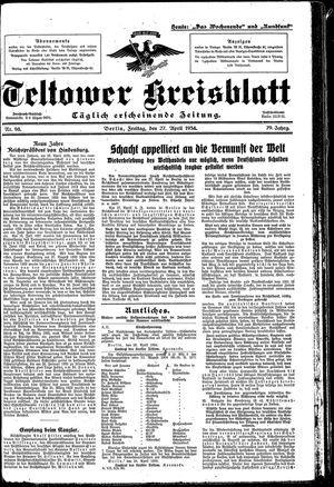 Teltower Kreisblatt vom 27.04.1934