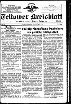 Teltower Kreisblatt vom 28.04.1934