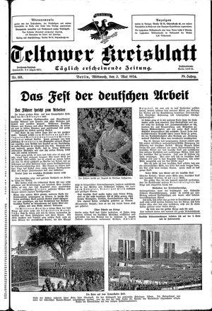 Teltower Kreisblatt vom 02.05.1934