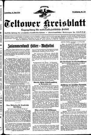 Teltower Kreisblatt vom 14.06.1934