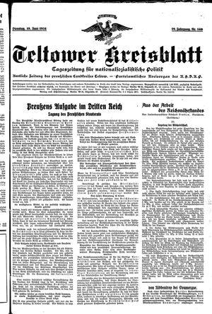 Teltower Kreisblatt vom 19.06.1934