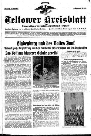 Teltower Kreisblatt vom 03.07.1934