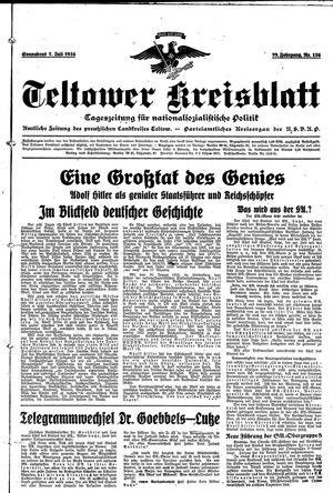 Teltower Kreisblatt vom 07.07.1934