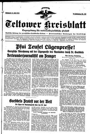 Teltower Kreisblatt vom 11.07.1934