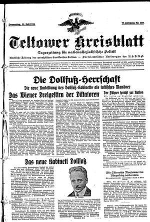 Teltower Kreisblatt vom 12.07.1934