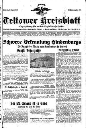 Teltower Kreisblatt vom 01.08.1934