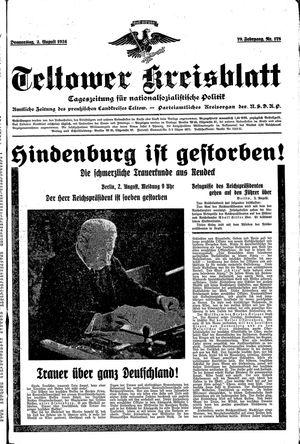 Teltower Kreisblatt vom 02.08.1934