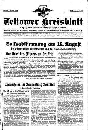 Teltower Kreisblatt vom 03.08.1934