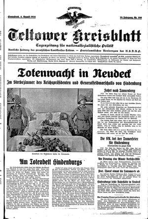 Teltower Kreisblatt vom 04.08.1934