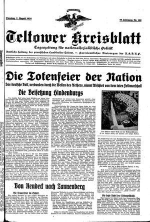 Teltower Kreisblatt vom 07.08.1934