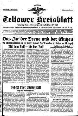 Teltower Kreisblatt vom 09.08.1934