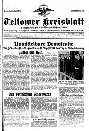 Teltower Kreisblatt vom 11.08.1934