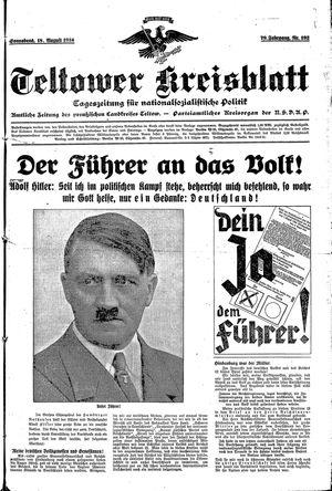 Teltower Kreisblatt vom 18.08.1934