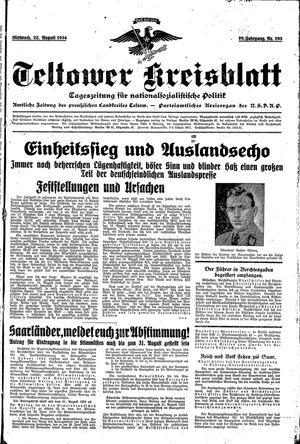 Teltower Kreisblatt vom 22.08.1934