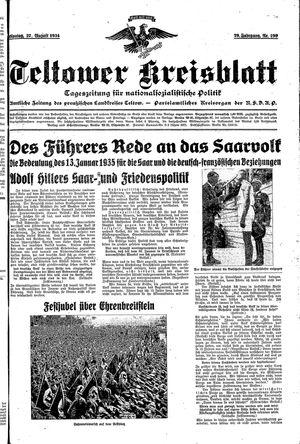 Teltower Kreisblatt vom 27.08.1934