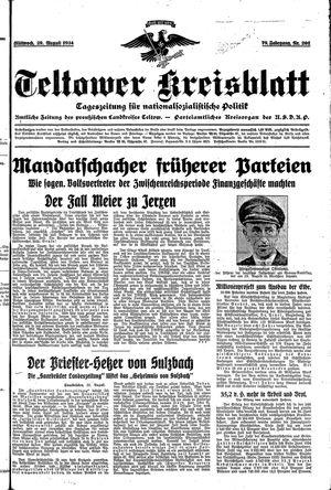 Teltower Kreisblatt vom 29.08.1934