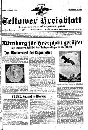 Teltower Kreisblatt vom 31.08.1934