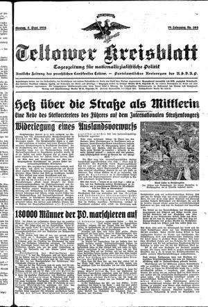 Teltower Kreisblatt vom 03.09.1934