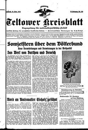 Teltower Kreisblatt vom 19.09.1934