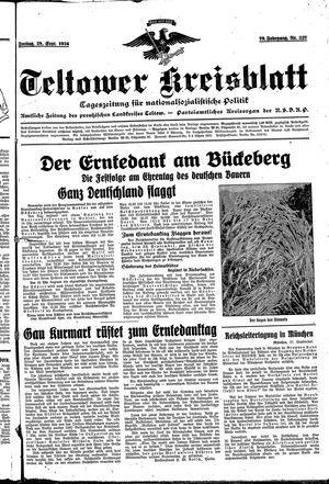 Teltower Kreisblatt vom 28.09.1934