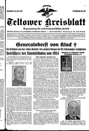 Teltower Kreisblatt vom 20.10.1934