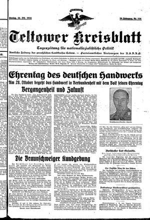 Teltower Kreisblatt vom 26.10.1934