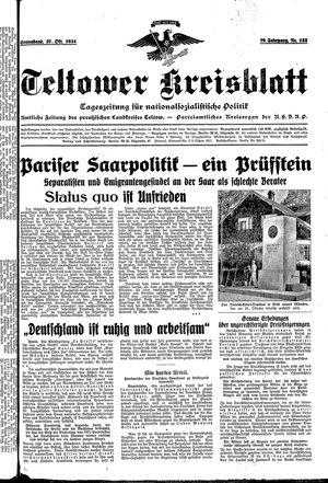 Teltower Kreisblatt vom 27.10.1934