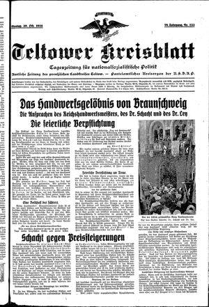 Teltower Kreisblatt vom 29.10.1934