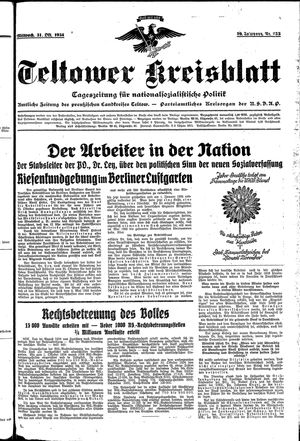 Teltower Kreisblatt vom 31.10.1934