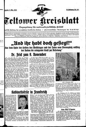 Teltower Kreisblatt vom 07.11.1934